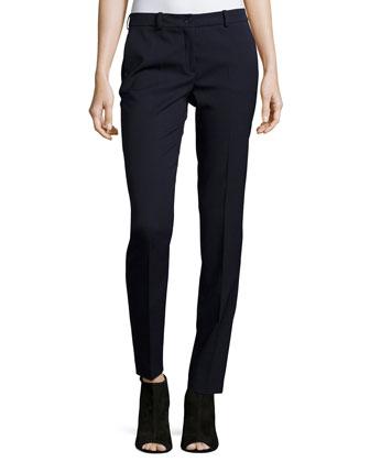 Samantha Flat-Front Skinny Pants, Navy