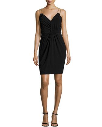 Embellished Double-Strap Dress, Black