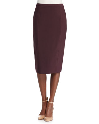 Seamed Pencil Skirt, Bordeaux