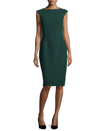 Cap-Sleeve Boucle Sheath Dress, Forest