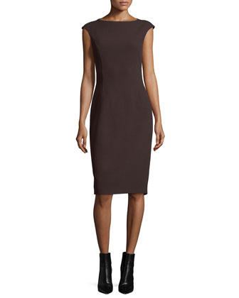 Cap-Sleeve Boucle Sheath Dress, Chocolate