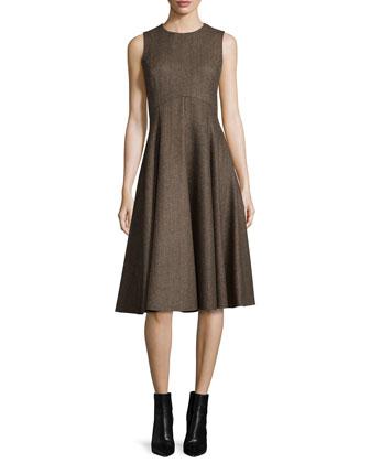 Sleeveless Fit-&-Flare Dance Dress, Fawn