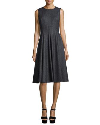 Sleeveless Fit-&-Flare Dance Dress, Banker Multi