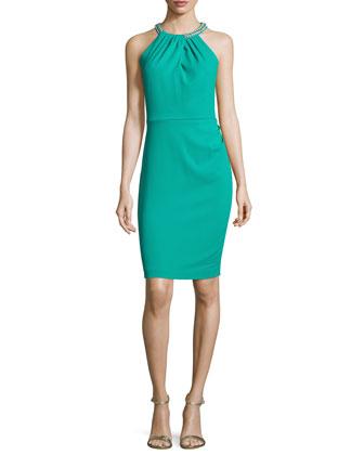 Embellished-Halter Sheath Dress, Dynasty Green