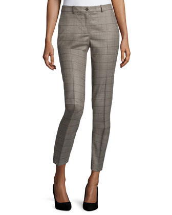 Samantha Glen-Plaid Skinny Pants, Taupe Melange