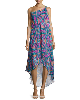 One-Shoulder Printed High-Low Gown, Dynasty Green/Multi Colors