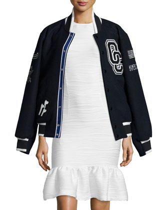 Kennel Club Varsity Jacket & Lotus Wavy Stripe Flounce-Hem Dress