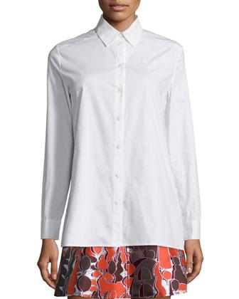 Cotton Poplin Open-Back Shirt, White