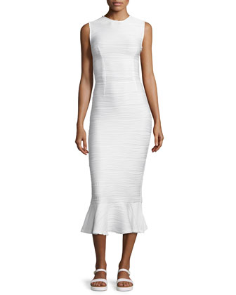 Lotus Wavy Stripe Maxi Dress, White