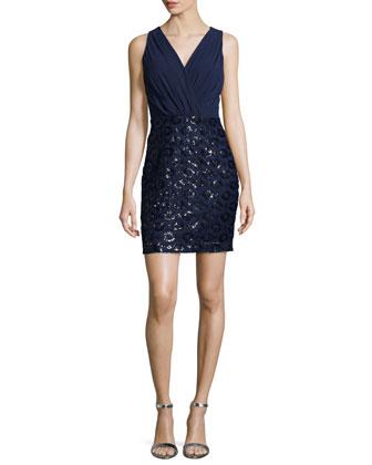 Sleeveless Sequined-Skirt Dress, Ink Blot