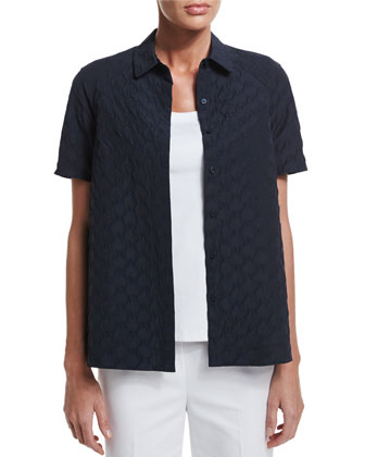 Ingrid Short-Sleeve Button-Front Blouse