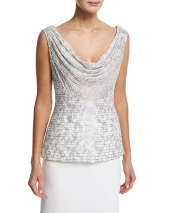 Sleeveless Cowl-Neck Embroidered Top & Mermaid Crepe Skirt
