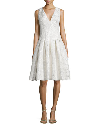Sleeveless V-Neck Pleated Cocktail Dress