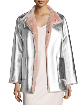 Faux-Fur Reversible Metallic Jacket, Dusty Pink