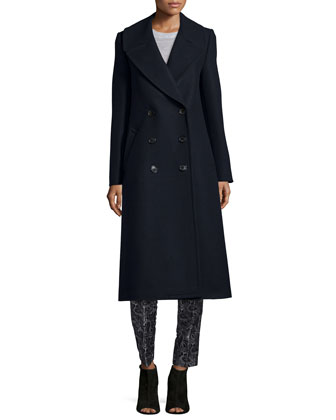 Melton Double-Breasted Long Coat, Navy