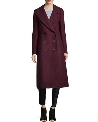 Melton Double-Breasted Long Coat, Bordeaux