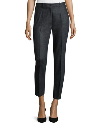 Samantha Slim-Leg Cropped Pants, Charcoal Melange