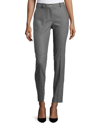 Samantha Slim-Leg Pants, Banker Multi