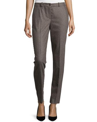 Flat-Front Slim-Leg Trousers, Chestnut Melange