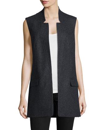 Open-Front Boyfriend Vest, Charcoal Melange