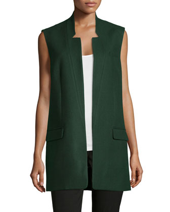 Open-Front Boyfriend Vest, Forest