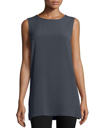 Round-Neck Long Tank, Graphite