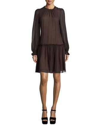 Long-Sleeve Drop-Waist Dress, Chocolate