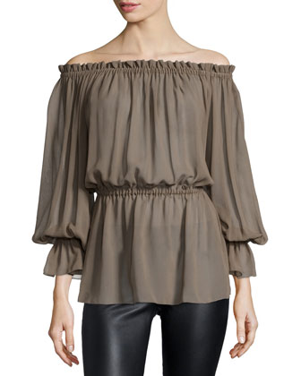 Off-The-Shoulder Blouson Top, Java