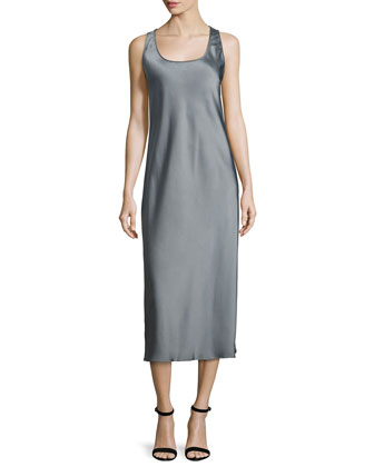 Scoop-Neck Midi Tank Dress, Slate