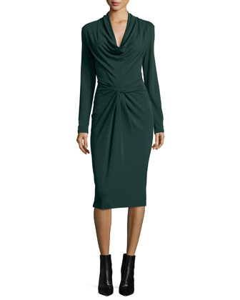 Long-Sleeve Cowl-Neck Sheath Dress, Forest