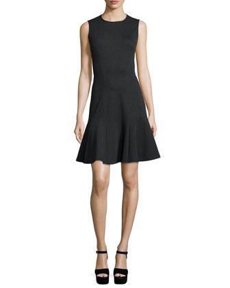 Sleeveless Fit-&-Flare Dress, Charcoal Melange