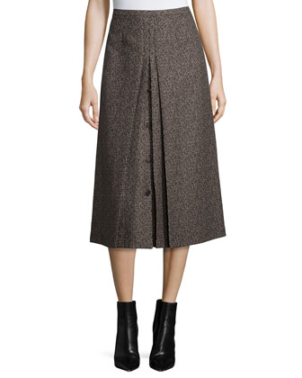 High-Waist A-Line Skirt, Chocolate/Taupe