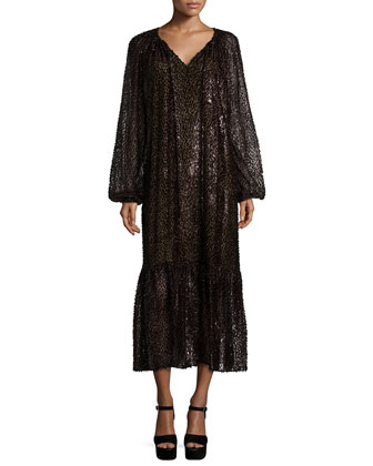 Long-Sleeve Fil-Coupe Peasant Dress, Chocolate