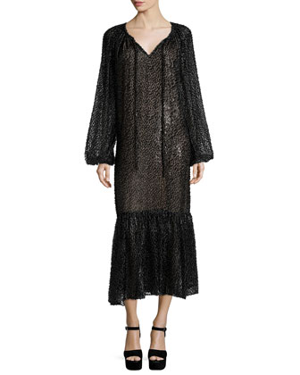 Long-Sleeve Fil-Coupe Peasant Dress, Graphite