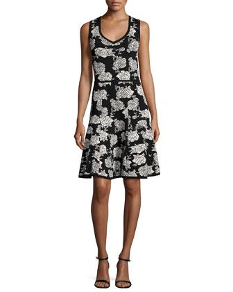 Floral-Print Fit-&-Flare Dress, Black/Ivory
