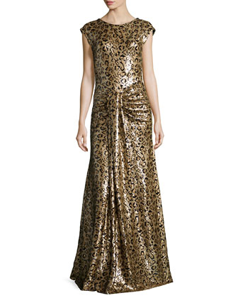 Cap-Sleeve Sequined Leopard Gown, Gold