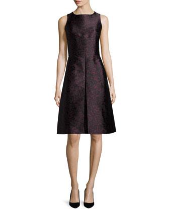 Sleeveless Fit-&-Flare Dress, Bordeaux