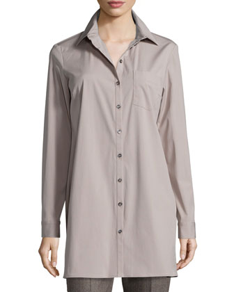 Long-Sleeve Button-Front Long Shirt, Bison