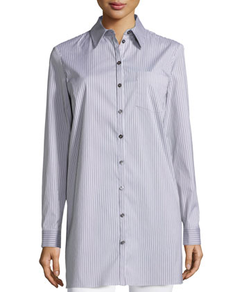 Button-Front Skinny-Stripe Long Shirt, Chocolate