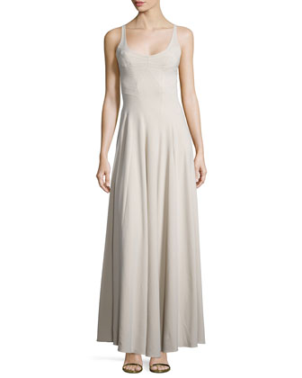 Sleeveless Scoop-Neck Gown, Silver