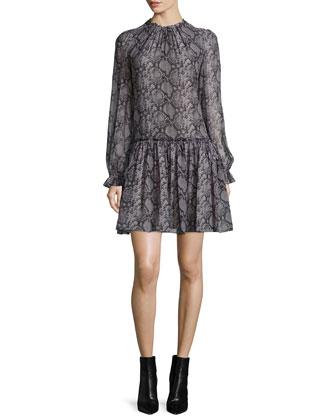 Long-Sleeve Snake-Print Dress, Slate