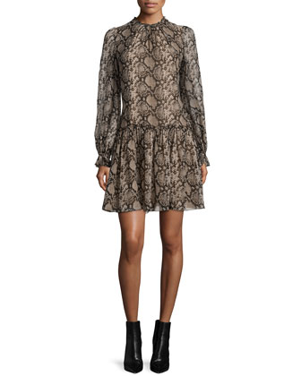 Long-Sleeve Snake-Print Dress, Taupe Melange