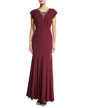 Cap-Sleeve Embellished-Collar Gown, Raisin