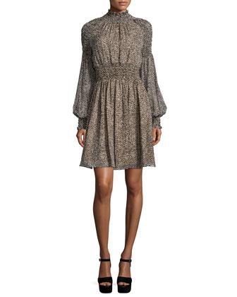 Long-Sleeve Smocked Dress, Chocolate