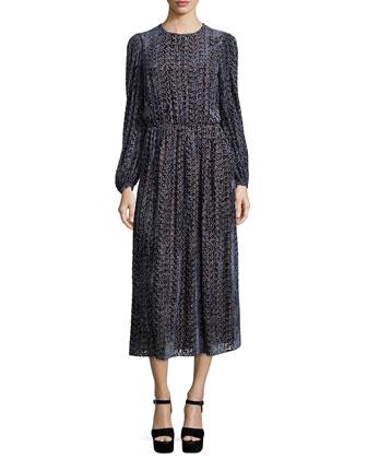 Long-Sleeve Drop-Waist Devore Dress, Slate