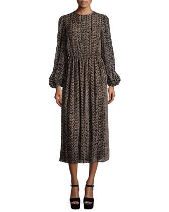 Devore Long-Sleeve Peasant Dress, Chocolate