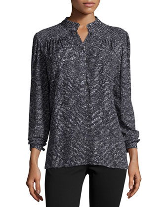 Long-Sleeve Metallic Blouse, Black