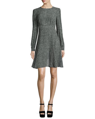 Long-Sleeve Printed Dress, Slate