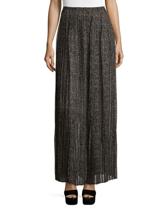 Pleated Maxi Skirt, Chocolate