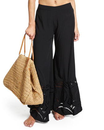 Peggy Wide-Leg Embroidered Coverup Pants